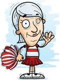 Cartoon Senior Citizen Cheerleader Waving. A cartoon illustration of a senior citizen woman cheerleader waving royalty free illustration