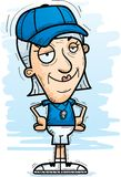 Confident Cartoon Senior Coach. A cartoon illustration of a senior citizen woman coach looking confident stock illustration