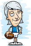 Confident Cartoon Senior Football Player. A cartoon illustration of a senior citizen woman football player looking confident stock illustration