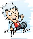 Cartoon Senior Lacrosse Player Running. A cartoon illustration of a senior citizen woman lacrosse player running Stock Image