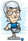Confident Cartoon Senior Racquetball Player. A cartoon illustration of a senior citizen woman racquetball player looking confident vector illustration