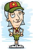 Confident Cartoon Senior Citizen Scout. A cartoon illustration of a senior citizen woman scout looking confident vector illustration