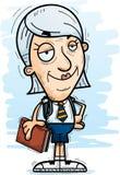 Confident Cartoon Senior Citizen Student. A cartoon illustration of a senior citizen woman student looking confident vector illustration
