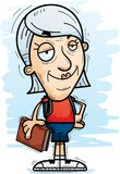 Confident Cartoon Senior Citizen Student. A cartoon illustration of a senior citizen woman student looking confident royalty free illustration