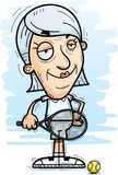 Confident Cartoon Senior Tennis Player. A cartoon illustration of a senior citizen woman tennis player looking confident royalty free illustration