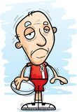 Sad Cartoon Senior Rugby Player Royalty Free Stock Images