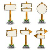 Cartoon illustration - set of wooden road direction sign. stock illustration