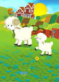 Cartoon illustration with sheep family on the farm Stock Photography
