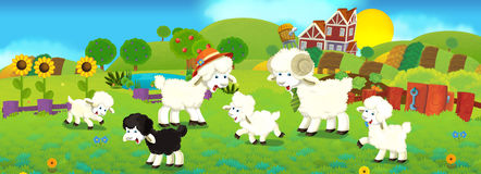 Cartoon illustration with sheep family on the farm Royalty Free Stock Photography