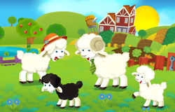 Cartoon illustration with sheep family on the farm Stock Image
