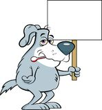 Cartoon sick dog with a thermometer in his mouth while holding a sign. Stock Photos
