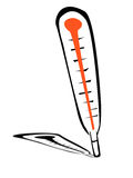 Cartoon illustration of silhouette thermometer Royalty Free Stock Photography
