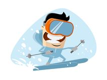 Cartoon illustration of a skiing man stock image