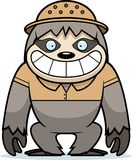 Cartoon Sloth Safari. A cartoon illustration of a sloth in a safari outfit and pith Stock Photo