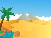 Cartoon illustration of small oasis in the desert Royalty Free Stock Photo