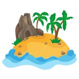 Cartoon illustration of the small tropical island Stock Photography
