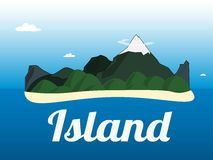 Cartoon illustration of the small tropical island in the ocean. Royalty Free Stock Photos