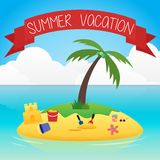 Cartoon illustration of the small tropical island Royalty Free Stock Images