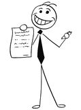 Cartoon Illustration of Smiling Businessman Salesman Offering a. Cartoon vector illustration of smiling stick man businessman or salesman offering contract or Royalty Free Stock Photos