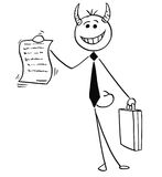 Cartoon Illustration of Smiling Devil Businessman Salesman Offer Stock Photos