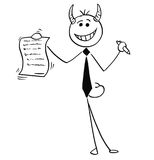 Cartoon Illustration of Smiling Devil Businessman Salesman Offer Stock Images