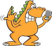 Cartoon dinosaur holding a cell phone. Royalty Free Stock Photography