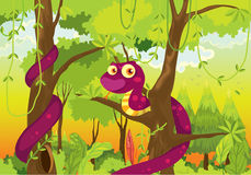 Cartoon illustration of a snake in the jungle Stock Photos