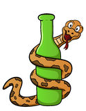 Cartoon illustration of a snake wrapped around a bottle Royalty Free Stock Images