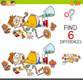 Spot the differences with boy and sweets. Cartoon Illustration of Spot the Differences Educational Activity Game for Children with Kid in a Candy Store Royalty Free Stock Photography