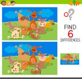 Spot the differences with dog animal characters. Cartoon Illustration of Spot the Differences between two Pictures Educational Game for Children with Dogs Animal Royalty Free Stock Image