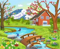 Cartoon illustration of a spring natural landscape. With a house in the middle, river and bridge Royalty Free Stock Photography