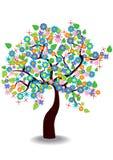 Cartoon illustration of spring tree Royalty Free Stock Photo