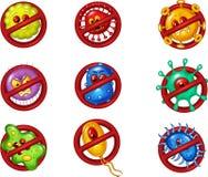 Cartoon illustration of stop virus Stock Image