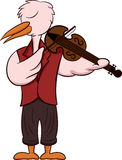 Cartoon illustration of a stork as a violist Stock Photography
