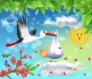 Cartoon illustration of a stork flying with a baby in a spring background. With flower petals all around Stock Images