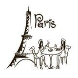 Paris bistro hand drawn cartoon  illustration Royalty Free Stock Photo