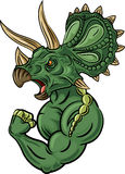 Cartoon illustration of strong triceratops character  on white background Stock Images
