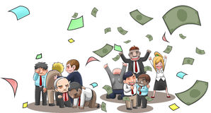 Cartoon illustration of successful and fail businesspeople, broker, and investor in stock market with money flying with wealth and. Lost from investment Royalty Free Stock Photos