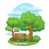 Summer day in the park. Cartoon illustration of a summer day scene in the park. Wooden bench with metal frame and  stone slabs in front. Trees with lush green Royalty Free Stock Image