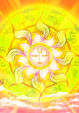 Cartoon illustration of a sun god in the sky with shinning sunlight  Stock Photos