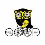 Cartoon illustration. Sweet owl on a bicycle stock illustration