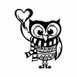 Cartoon illustration. Sweet owl with a heart vector illustration
