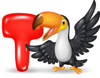 Cartoon illustration of T letter for Toucan. Illustration of T letter for Toucan Stock Illustration