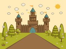 Cartoon Illustration of Tale Castle on Hill Landscape. Royalty Free Stock Image