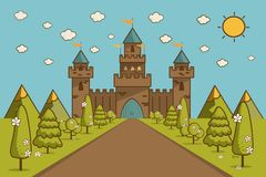 Cartoon Illustration of Tale Castle on Hill Landscape. Stock Photo