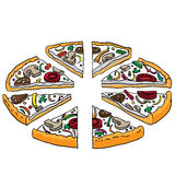 Cartoon illustration of tasty sliced pizza Royalty Free Stock Images