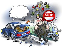 Cartoon illustration of a thief driving over party seams with new hard tires. Cartoon illustration of an thief driving over party seams with new hard tires Stock Photography