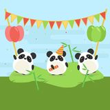 Cartoon illustration of three cute pandas with balloons and falgs on green grass. Stock Image