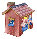 Three Little Pigs Fairy Tale Brick House Royalty Free Stock Photo