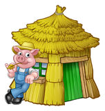 Three Little Pigs Fairy Tale Straw House. A cartoon illustration from the three little pigs childrens fairy tale, pig character with his straw house Royalty Free Stock Photography